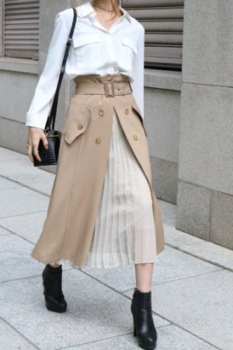 front open chiffon pleats layered flare skirt (belt set) / beige