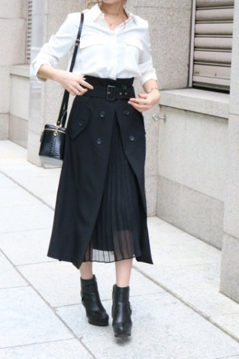 front open chiffon pleats layered flare skirt ( belt set ) / black