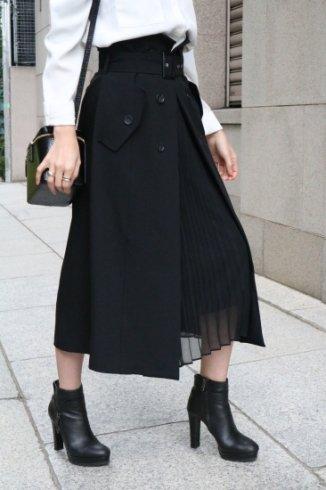 front open chiffon pleats layered flare skirt ( belt set ) / black