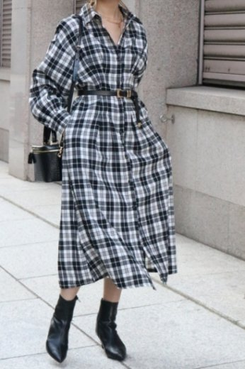 2way check pattern waist tuck button down long dress / black