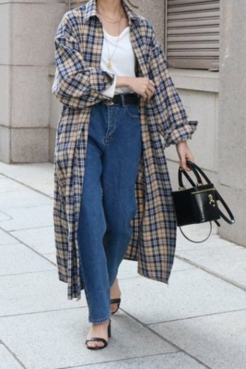 2way check pattern waist tuck button down long dress / navy