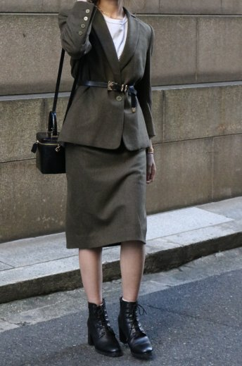 【vintage】GIVENCHY / notched shawl collar jacket & tight skirt set up