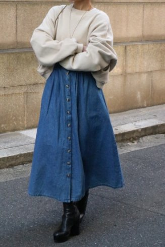 【vintage】waist gather button down denim skirt