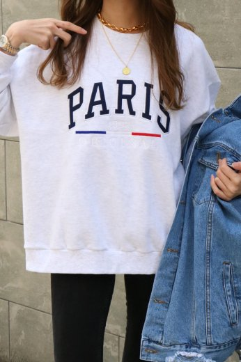 """PARIS"" embroidery crew neck sweat tops / pale gray"