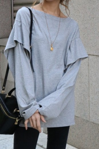 boat neck layered sleeves loosely tops / gray