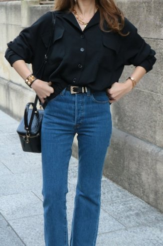 open collar double flap pocket blouse / black
