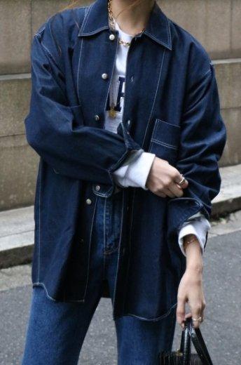 【vintage】KENZO / 90's white stitch denim shirt