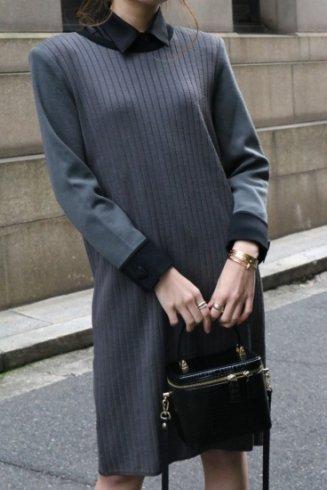 【vintage】Yves Saint Laurent / round neck rib knit box dress