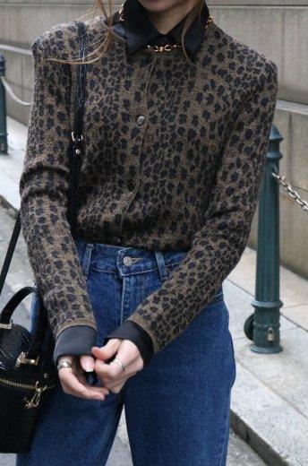 【vintage】FENDI / FF&leopard knit cardigan