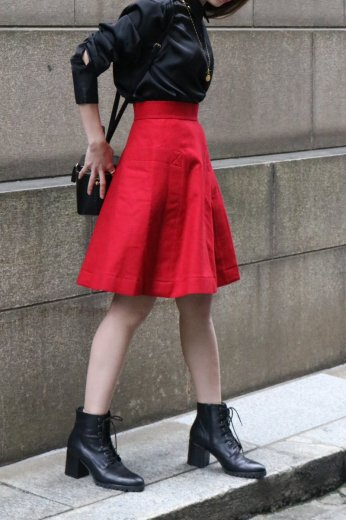 【vintage】Yves Saint Laurent / out side pocket trapezoid flare skirt