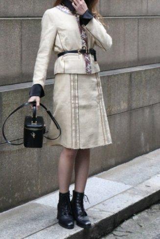 【vintage】PRADA / floral piping no collar jacket & tight skirt tweed set up