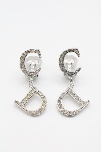 【vintage】Christian Dior / CD logo rhinestone earrings
