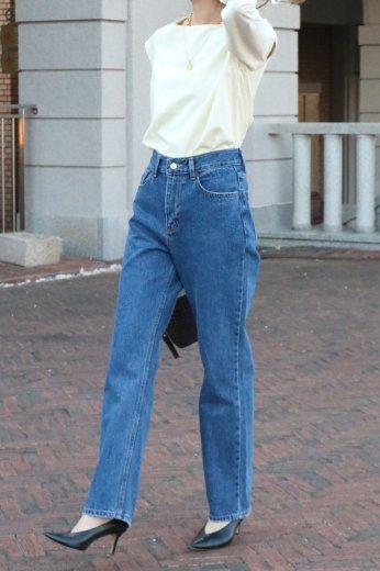 yellow stitch straight denim pants / blue