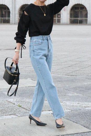 yellow stitch straight denim pants / light blue