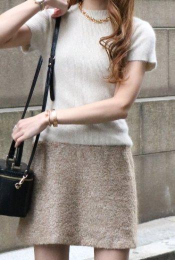 【vintage】BALENCIAGA / round neck rib knit A line dress