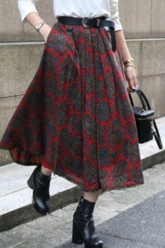 【vintage】paisly pattern pleats skirt