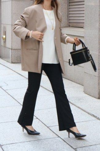 3B no collar tencel jacket / beige