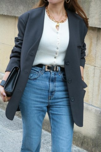 3B no collar tencel jacket / charcoal gray
