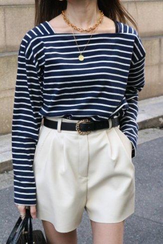 bicolor square neck stripe tops / navy×white