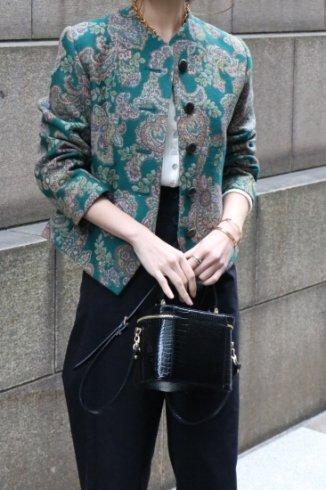 【vintage】Yves Saint Laurent / no collar paisley jacquard jacket