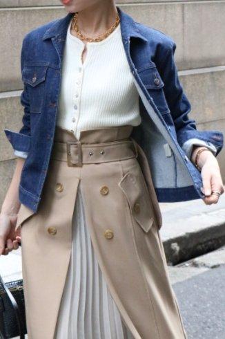 【vintage】MCM / logo button stretch denim jacket