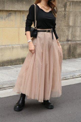 velour dot pattern pannier tulle skirt / beige