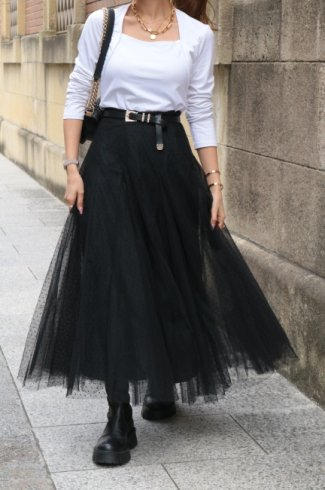 <img class='new_mark_img1' src='https://img.shop-pro.jp/img/new/icons14.gif' style='border:none;display:inline;margin:0px;padding:0px;width:auto;' />velour dot pattern pannier tulle skirt / black