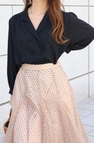 puff sleeves double button chiffon blouse / black