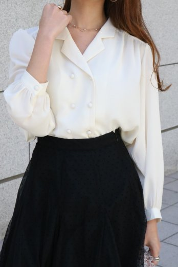 puff sleeves double button chiffon blouse / ivory