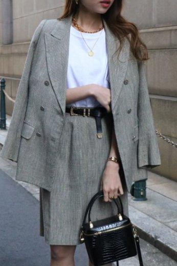 【vintage】Yves Saint Laurent / peaked lapel collar double button jacket & tight skirt suit set up