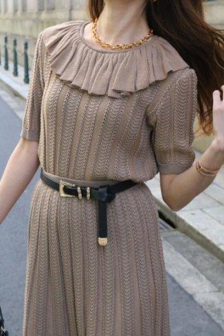 【vintage】Christian Dior / ruffle collar tops & flare skirt  knit set up