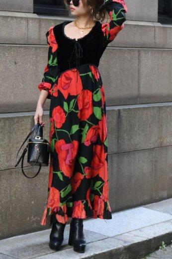 【vintage】 front lace up floral maxi dress