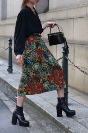 【vintage】80's waist tuck floral jacquard flare skirt