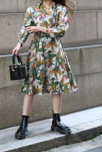 【vintage】90's notched lapel collar floral flare dress (belt set)