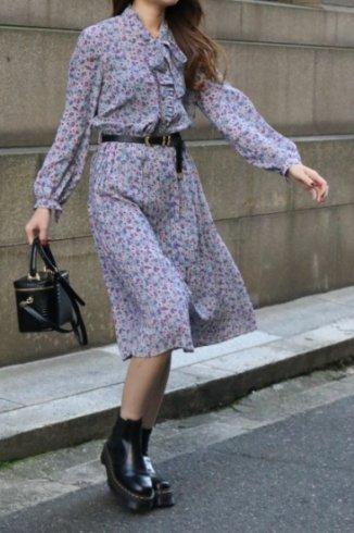 【vintage】front ribbon tie paisley pattern pleats dress