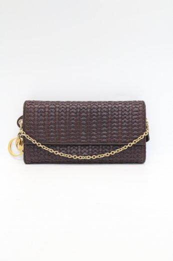 【vintage】 Christian Dior / D.I.O.R logo charm braided leather chain wallet