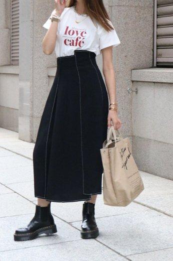 high waist stitch asymmetry flare skirt / black