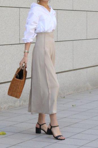high waist stitch asymmetry flare skirt / beige