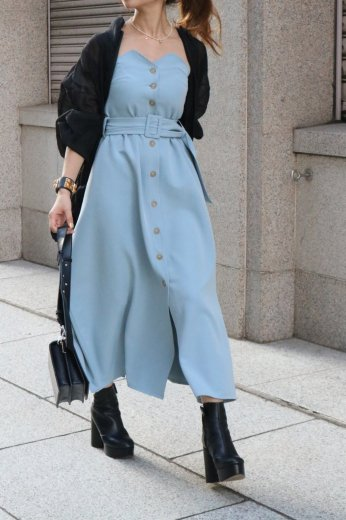 side ribbon bare top button down flare dress / sky blue
