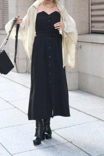 side ribbon bare top button down flare dress / black