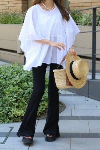 round neck cape sleeves cotton tunic