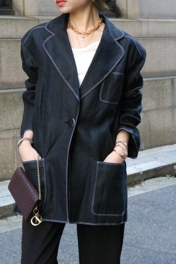 【vintage】Christian Dior / CD embroidery clover leaf collar linen 1B jacket