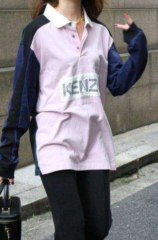 【USED】KENZO / box logo multi color block polo shirt