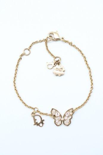 【vintage】Christian Dior / butterfly motif CD logo charm chain bracelet