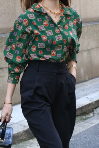 【vintage】open collar patterned all over blouse
