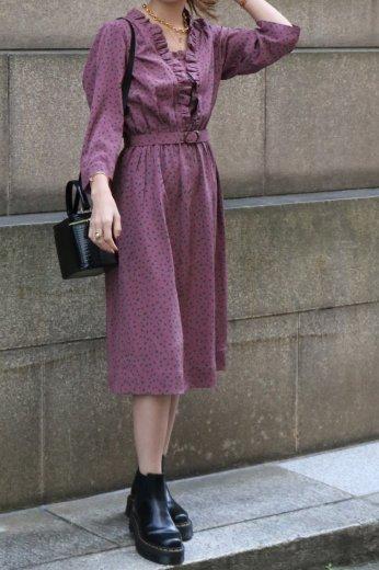 【vintage】frill v neck leaf patterned flare dress