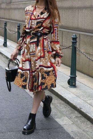 【vintage】open color scarf motif patterned flare dress
