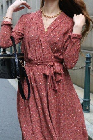 【vintage】patterned all over cache coeur design pleats dress