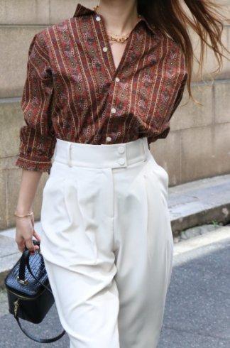 【vintage】paisry patterned fishtail design cotton shirt
