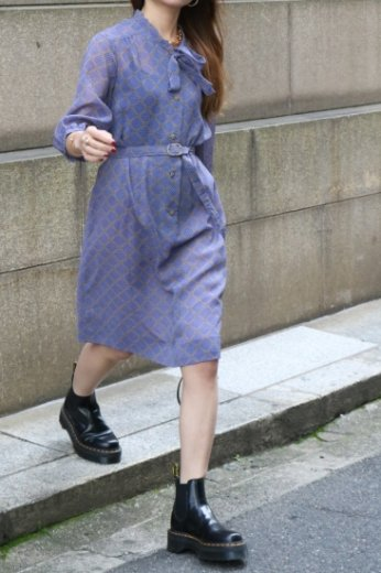 【vintage】front ribbon design check see-through flare dress